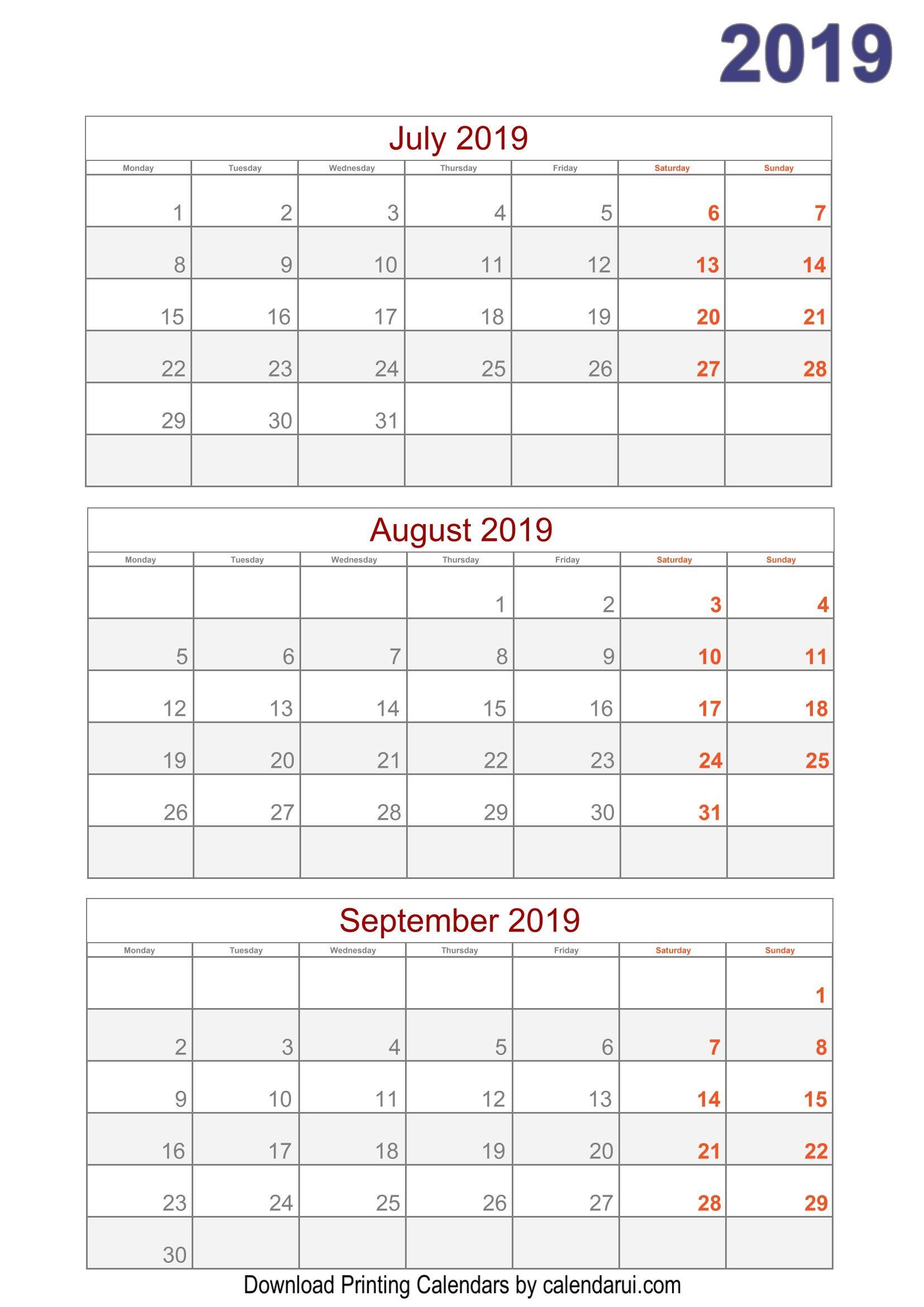 Download 2019 Quarterly Calendar Printable For Free throughout Quarterly Calendar Template