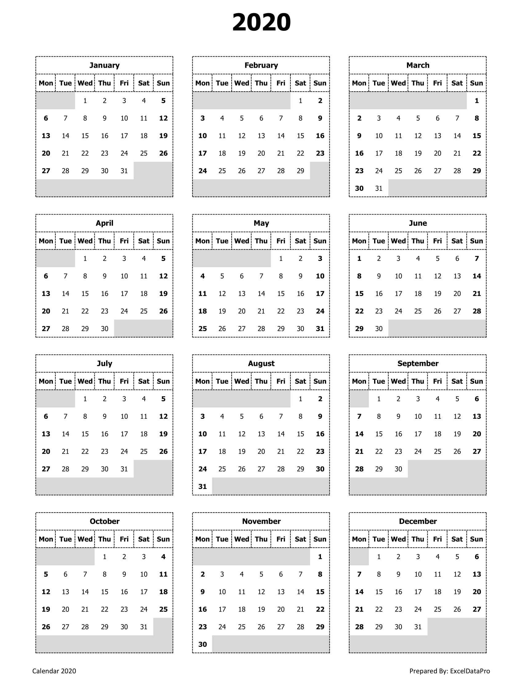 Download 2020 Yearly Calendar (Mon Start) Excel Template inside Printable 2020 Calendar Starting Monday