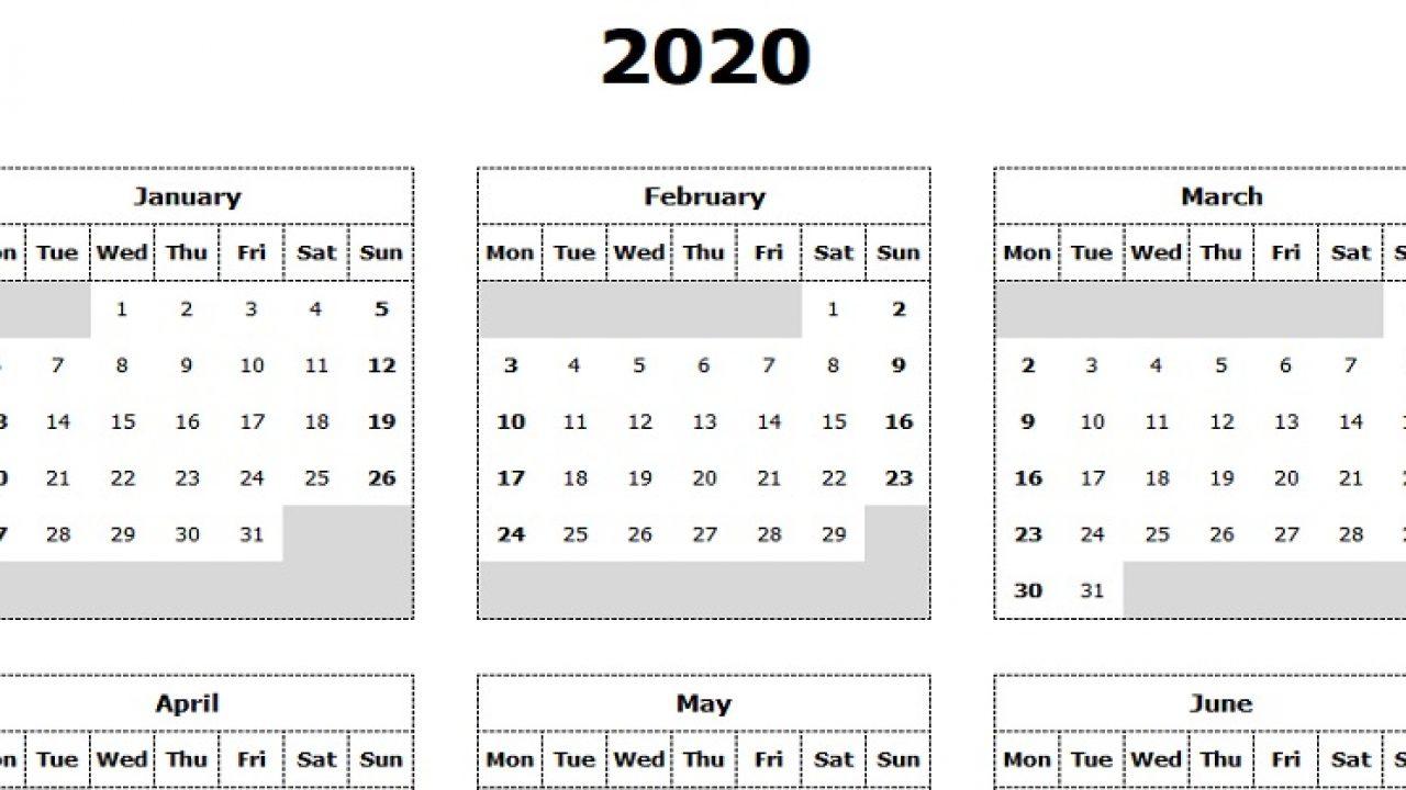 Download 2020 Yearly Calendar (Mon Start) Excel Template throughout 2020 Calendar Template Monday Start