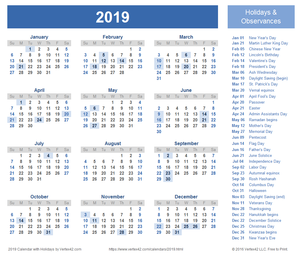 Download A Free Printable 2019 Holiday Calendar From inside 2020 Calendar With Holidays Hong Kong Excel