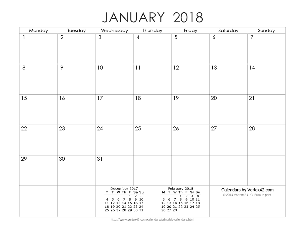 Download A Free Printable Ink Saver 2018 Calendar From intended for Vertex42 Monthly Calendar