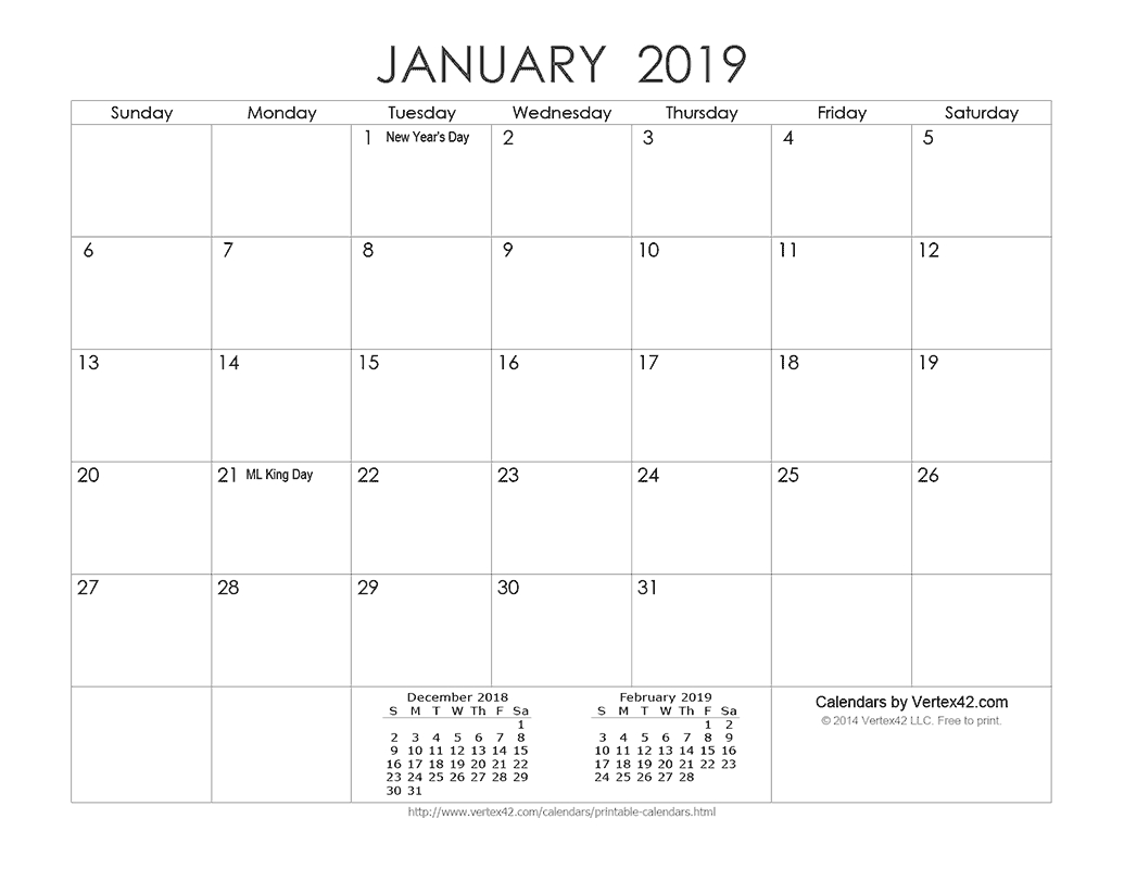 Download A Free Printable Ink Saver 2019 Calendar From inside Vertex42 Monthly Calendar