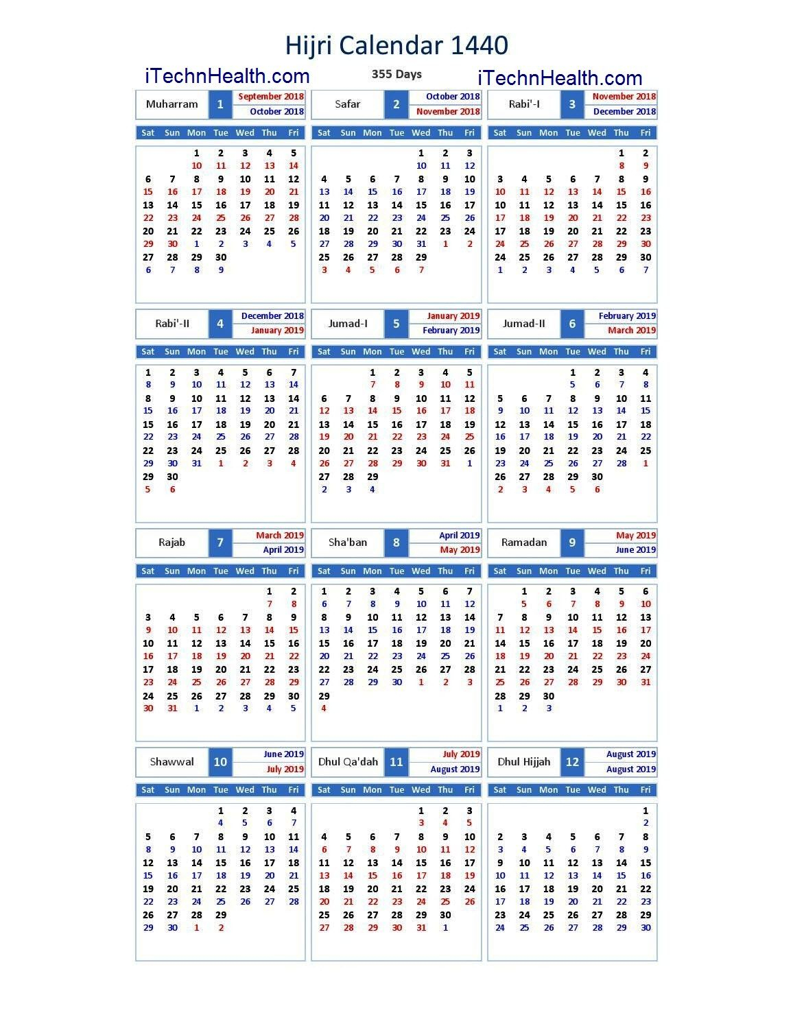 Download Calendar 2019 And Islamic Calendar 2019  1440 intended for 1440 Hijri Calendar