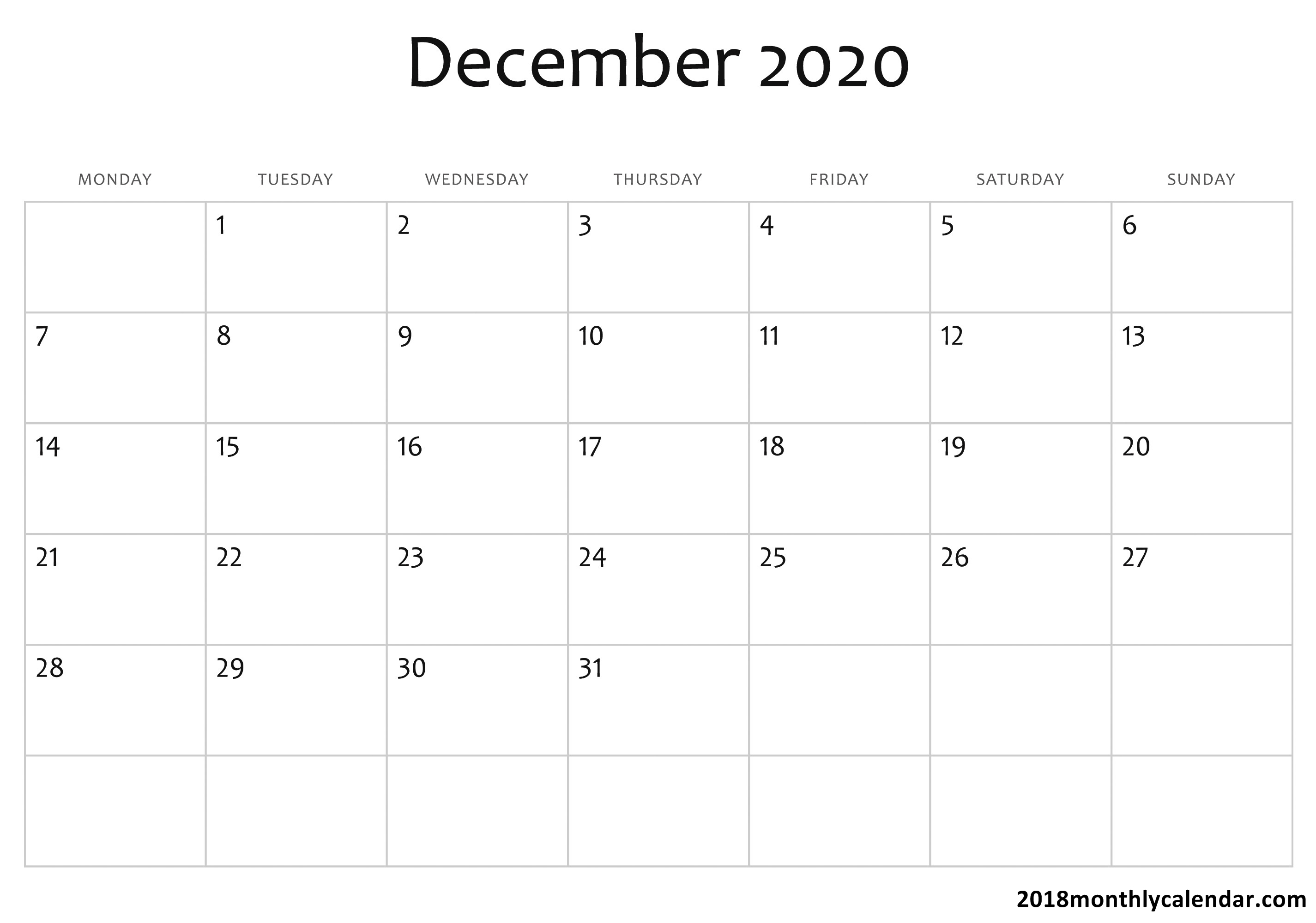 Download December 2020 Calendar – Blank & Editable within 123 Calendars December 2020