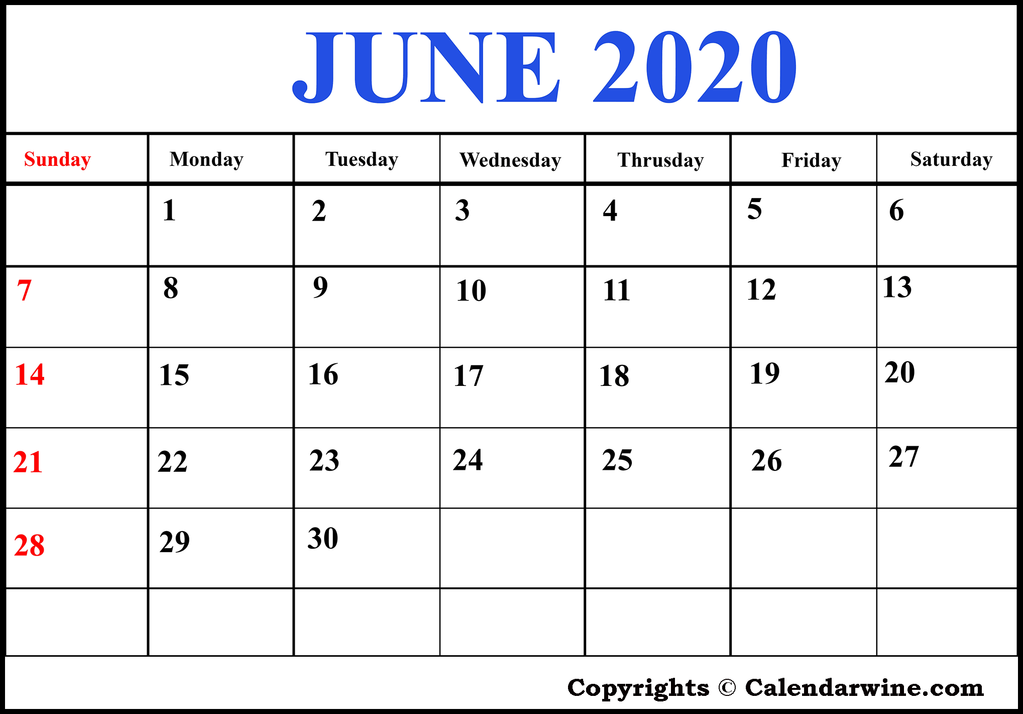 Download Free Blank Printable June 2020 Calendar Template throughout Julian Calendar Pdf