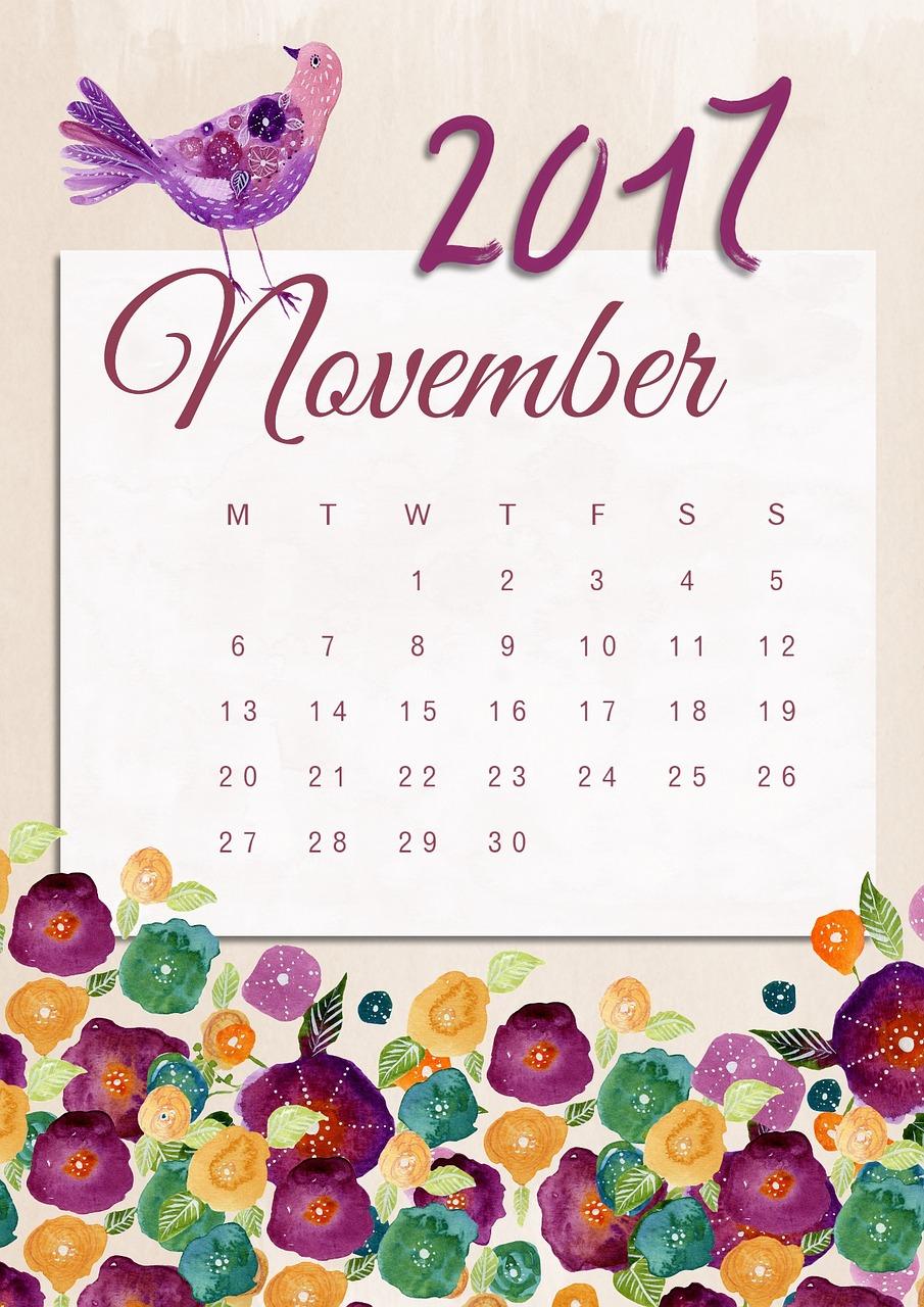 Download Free Photo Of November,calendar,2017,floral,bird throughout November Decorated Calendar