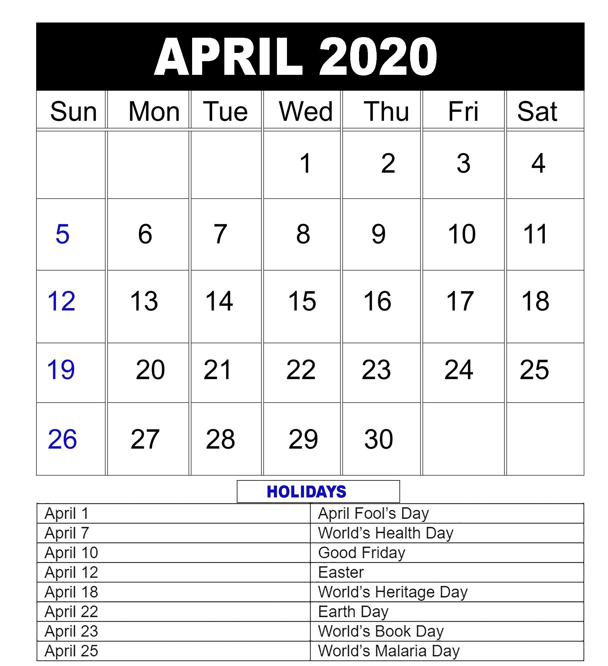 Download Free Printable April 2020 Calendar Pdf Template inside Max 30 Calendar Pdf