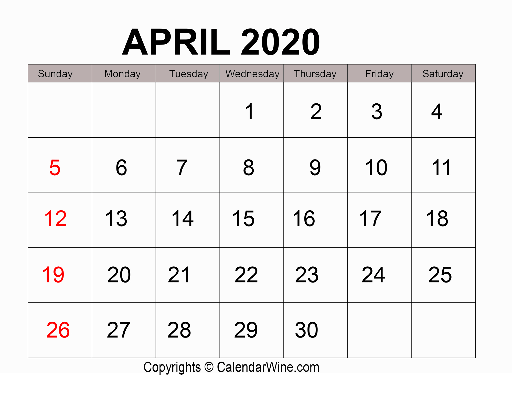 Download Free Printable April 2020 Calendar Pdf Template intended for Max 30 Calendar Pdf