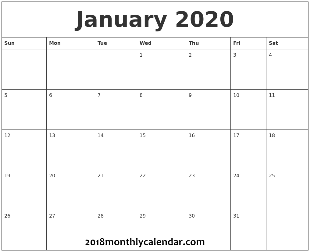 Download January 2020 Printable Calendar for January 2020 Printable Calendar