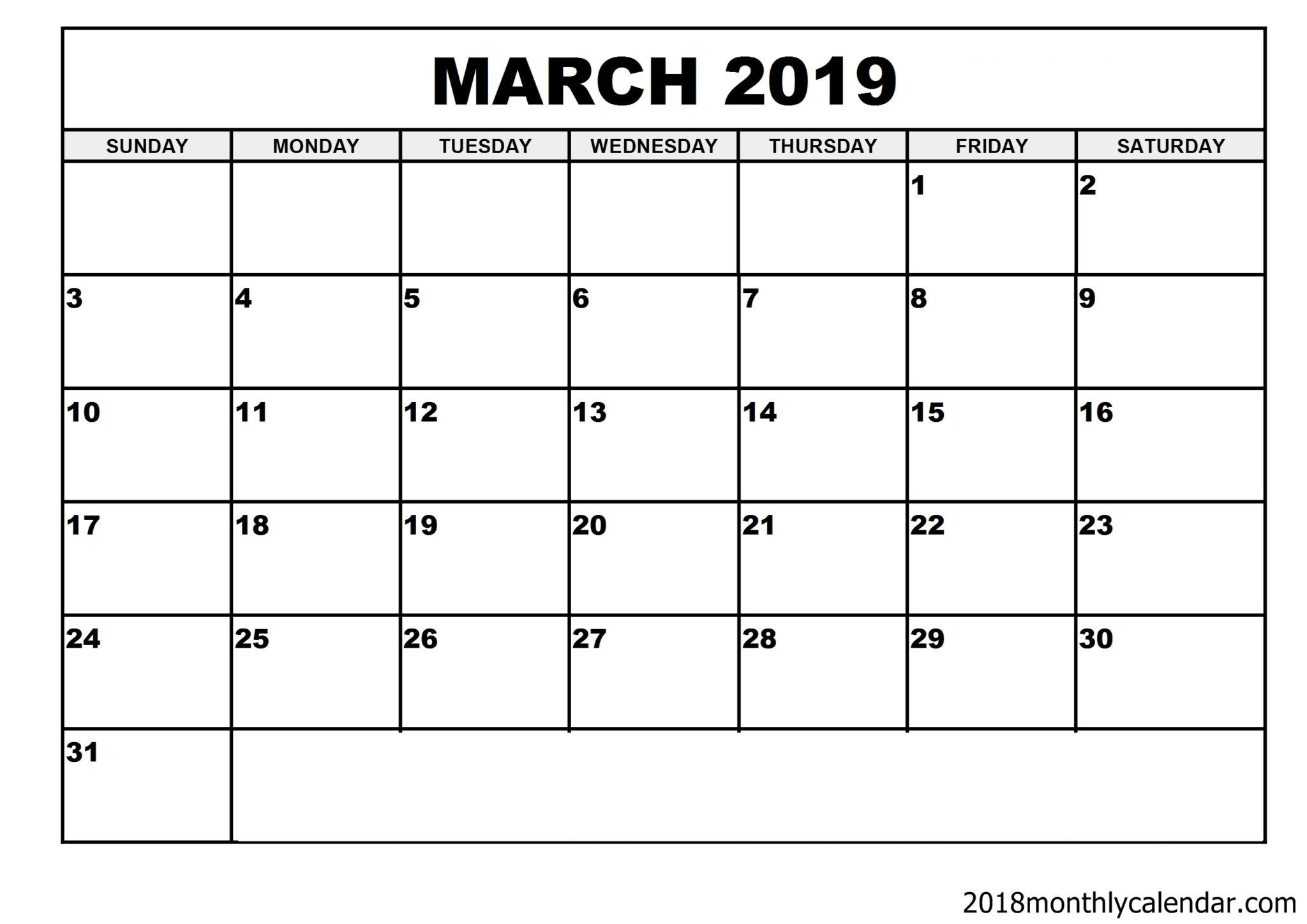 Download March 2019 Calendar – Blank Template  Editable intended for Fillable Printable Calendar