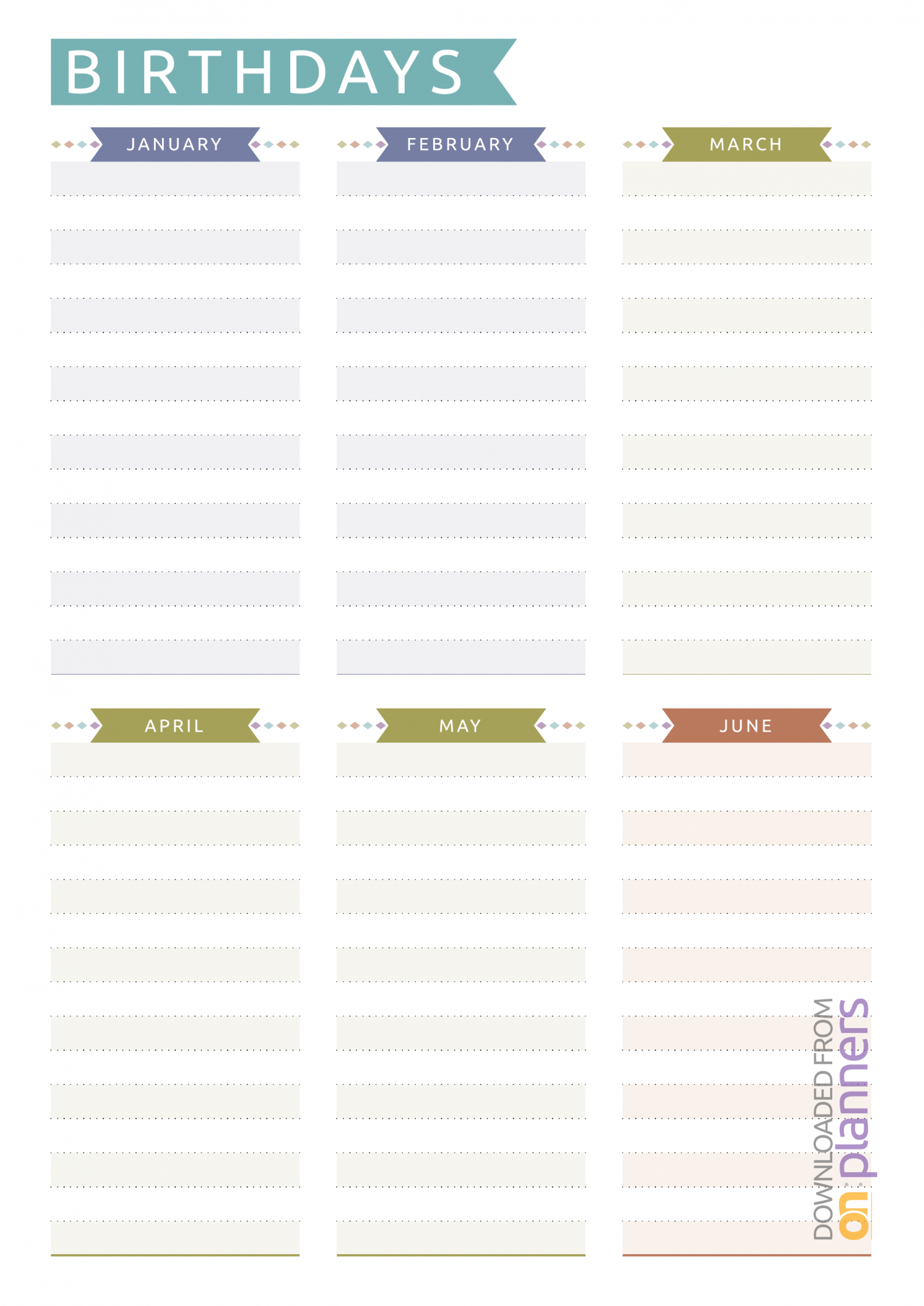 Download Printable Birthday Calendar  Casual Style Pdf in Yearly Birthday Calendar Template