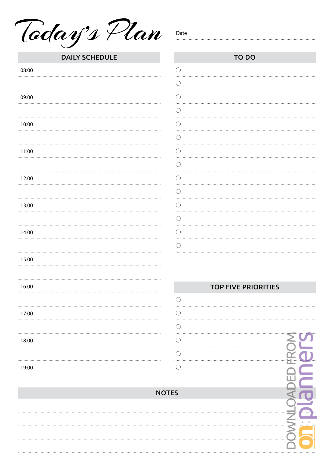 Download Printable Daily Planner With Hourly Schedule & To intended for Printable Weekly Hourly Schedule