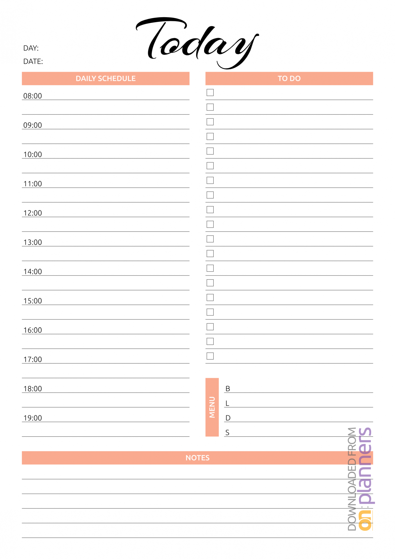 Download Printable Today Hourly Planner Pdf intended for Free Hourly Planner Template