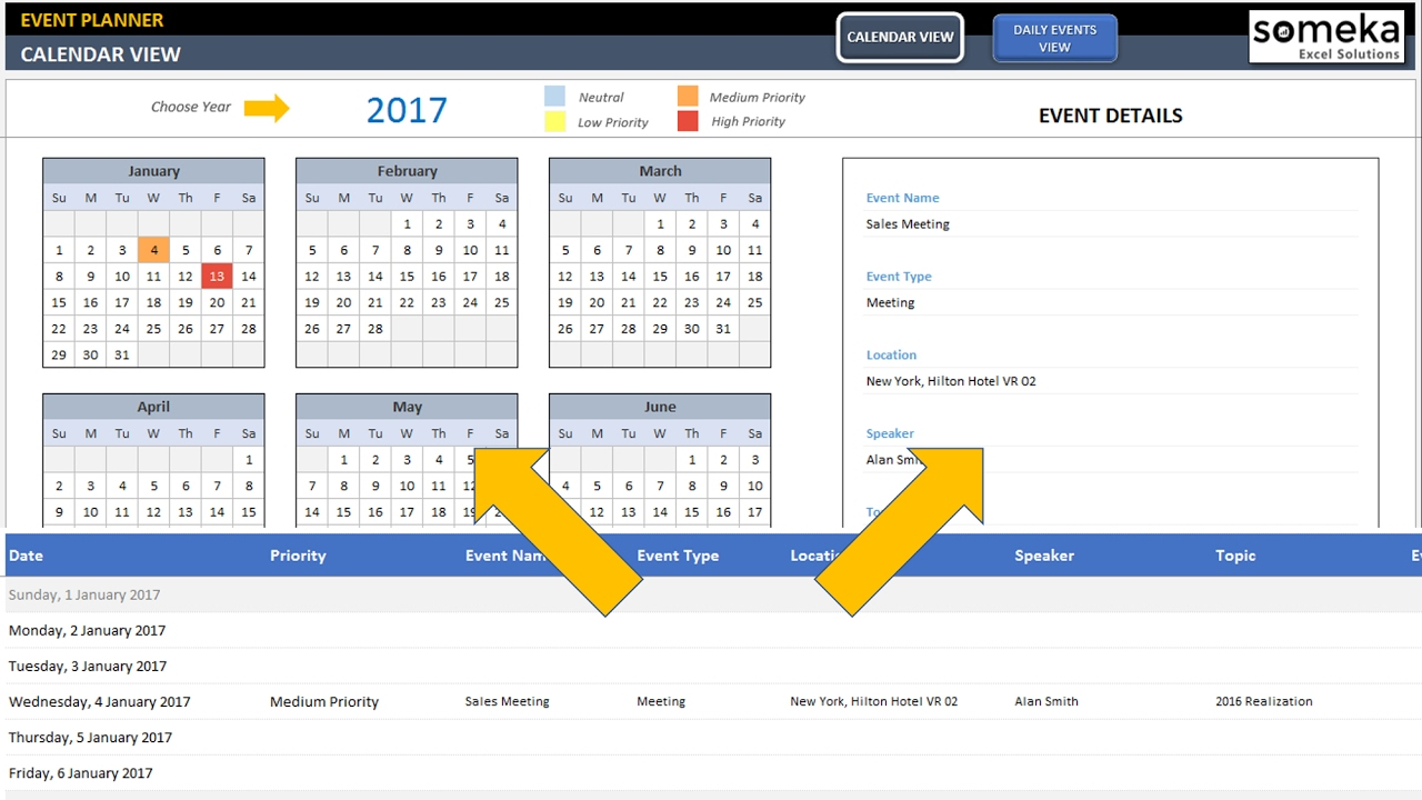 Dynamic Event Calendar | Calender In Excel Template pertaining to Creating Recurring Events In Excel Calendar