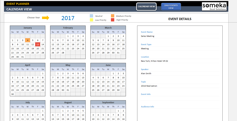 Dynamic Event Calendar | Event Calendar, Event Calendar in Event Calendar Template Excel