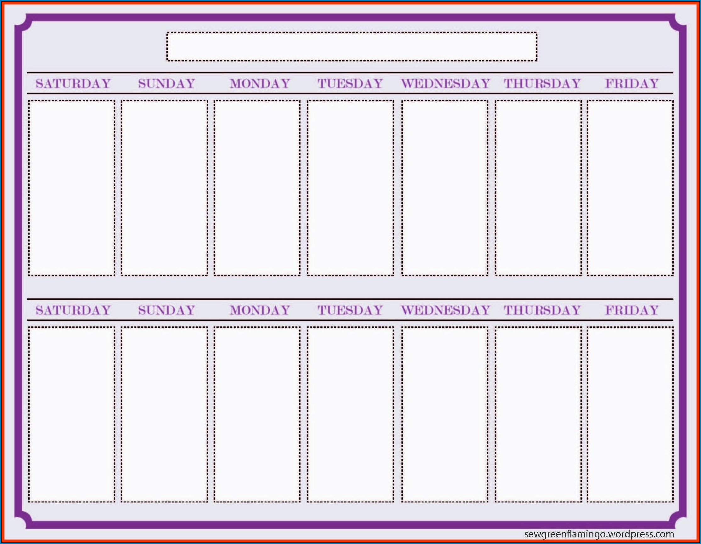 √ Free Printable 2 Week Calendar Template | Templateral with Two Week Calander