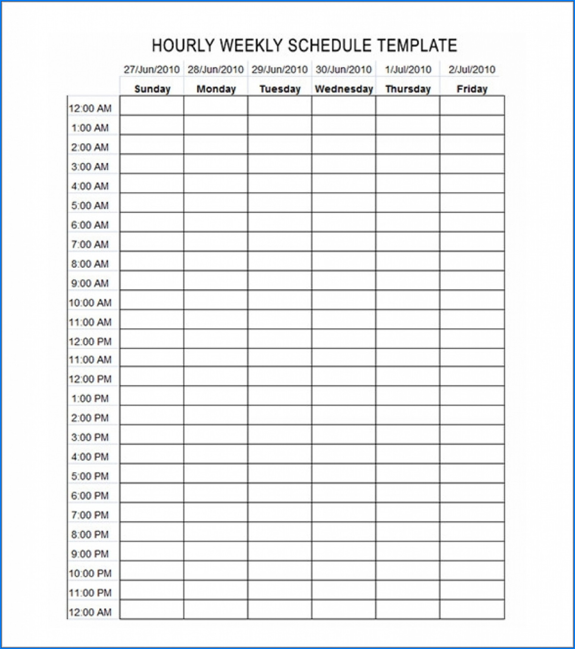 √ Free Printable Hourly Schedule Template   Templateral for Free Printable Hourly Planner