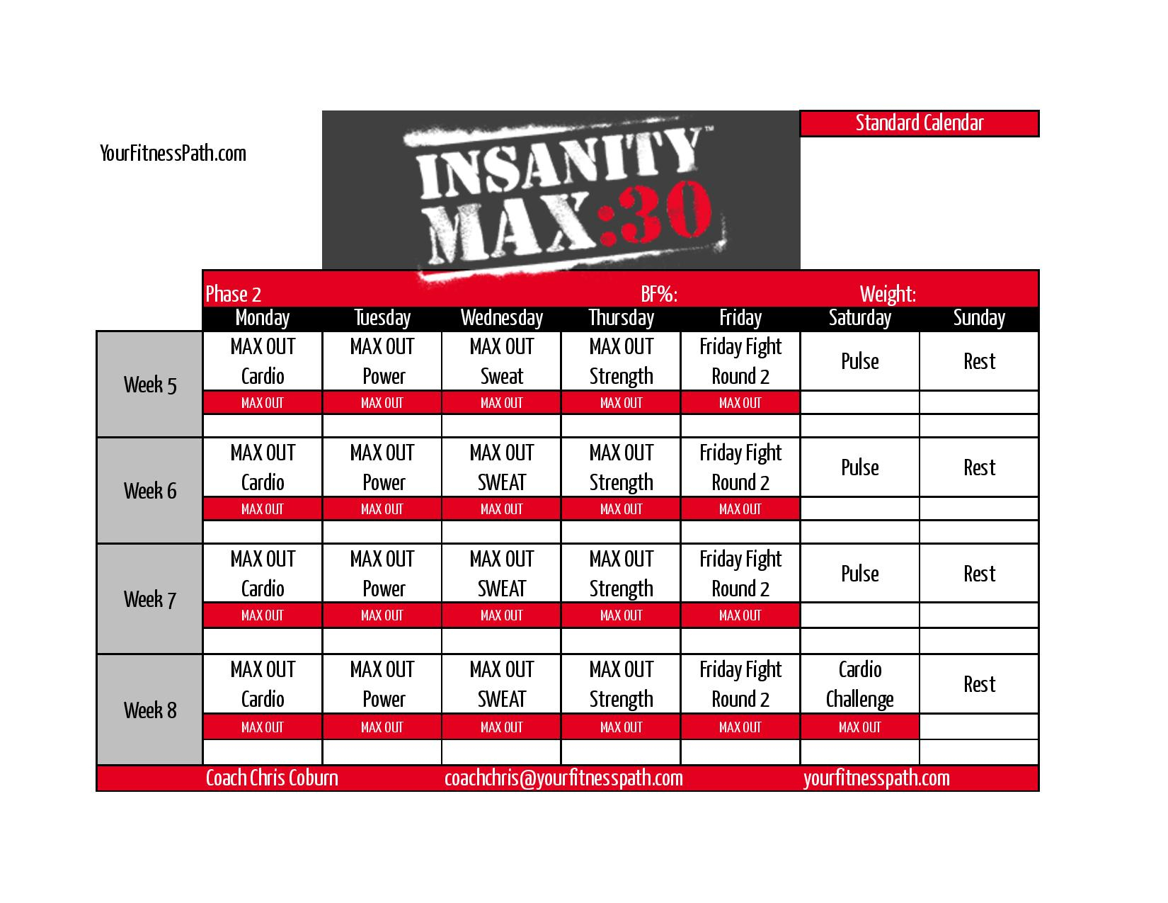 ✅Insanity Max 30 Calendar  You Calendars throughout Max 30 Calendar