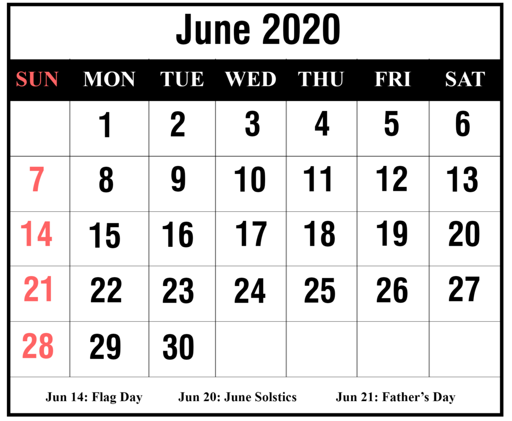 ❤️free 2020 June Printable Calendar Templates [Pdf, Excel for Printable June 2020 Calendar