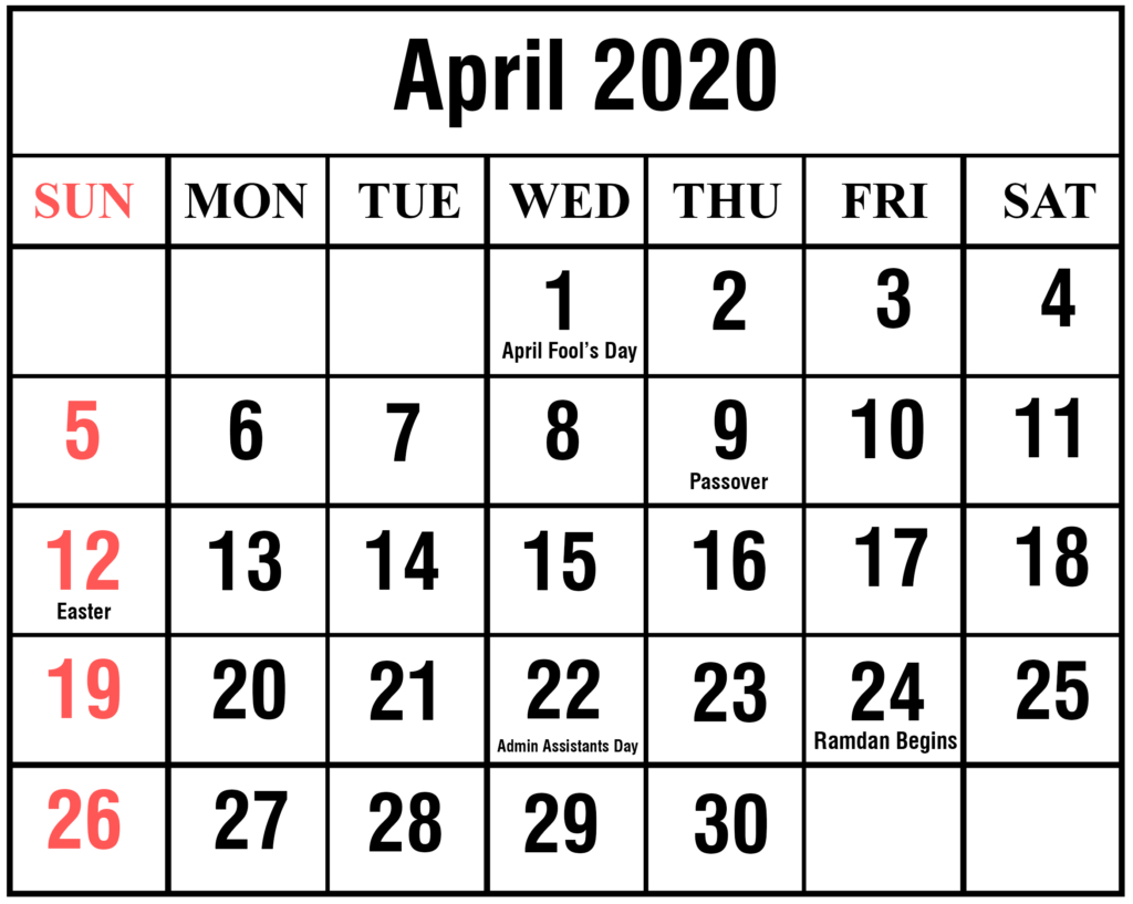 ❤️free April 2020 Printable Calendar Templates [Pdf, Excel for Free Printable April 2020 Calendar