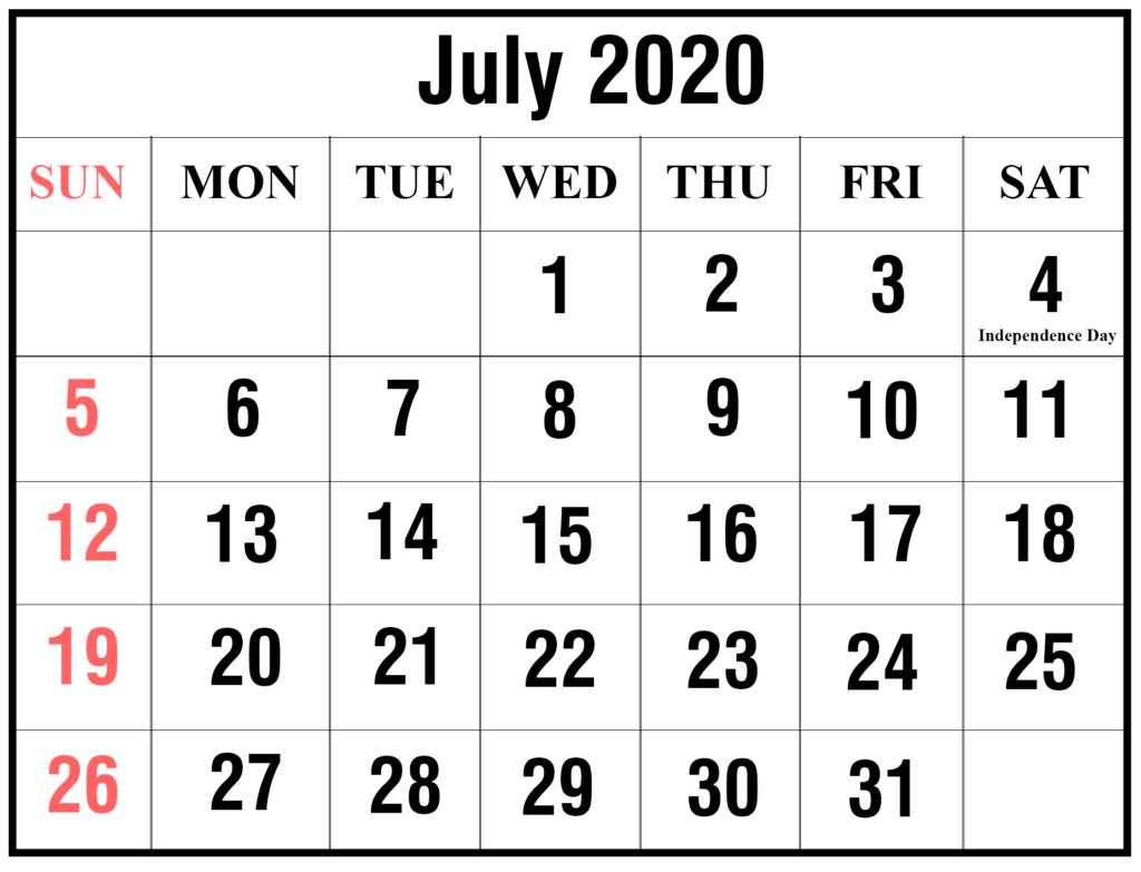 ❤️free July 2020 Printable Calendar Templates [Pdf, Excel throughout Max 30 Calendar Pdf