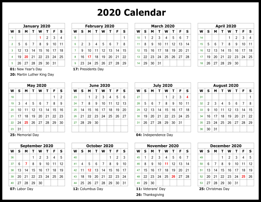 ❤️free Yearly 2020 Printable Calendar Templates [Pdf, Word in Printable 2020 Calander