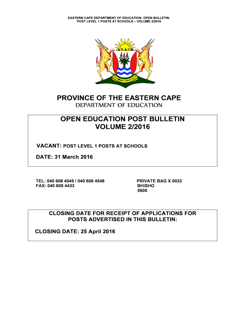 Eastern Cape Department Of Education Bulletin 2019  Fill pertaining to Eastern Cape School Calendar