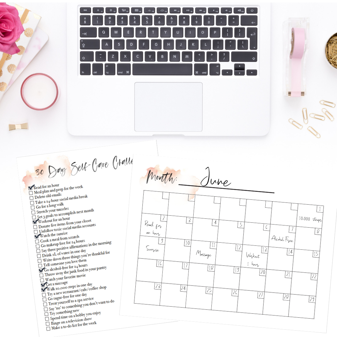 Easy 30Day Selfcare Challenge (Free Checklist + Blank with 30 Day Calendar Blank