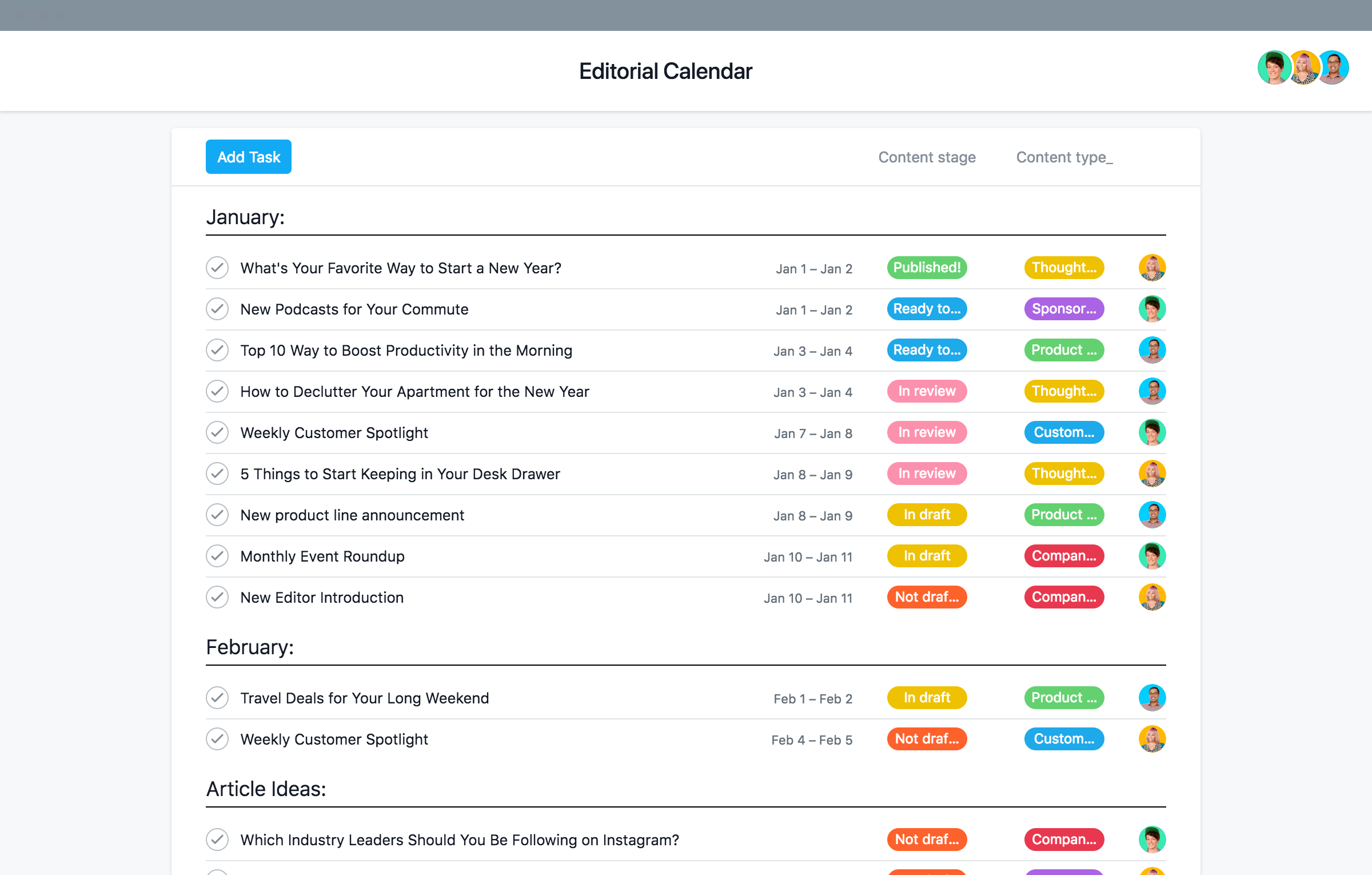 Easy To Adapt Editorial Calendar Template · Asana for Time And Action Calendar Template