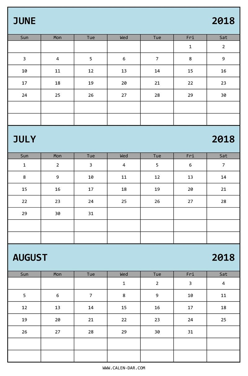 Edit Three Month Calendar 2018 June July August In Ms Excel pertaining to 3 Month Calendar Excel