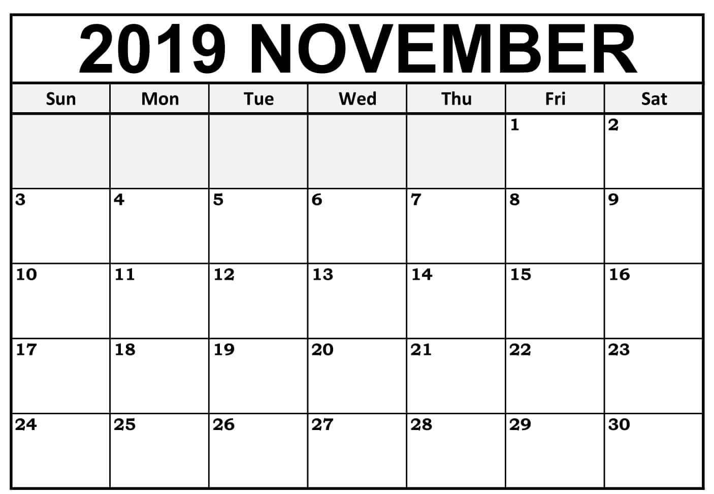 Editable 2019 November Calendar Printable Template With Notes intended for Blank Fillable Calendar