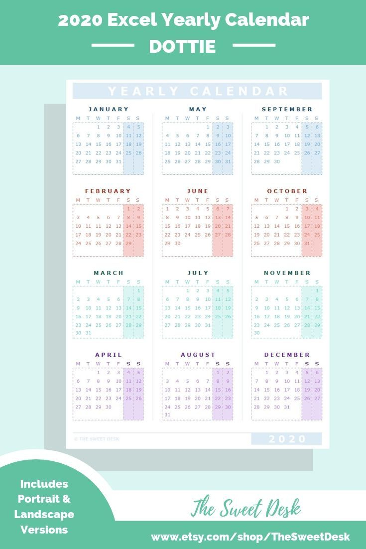 Editable 2020 Excel Yearly Calendar Template | Printable inside 2020 Excel Calender