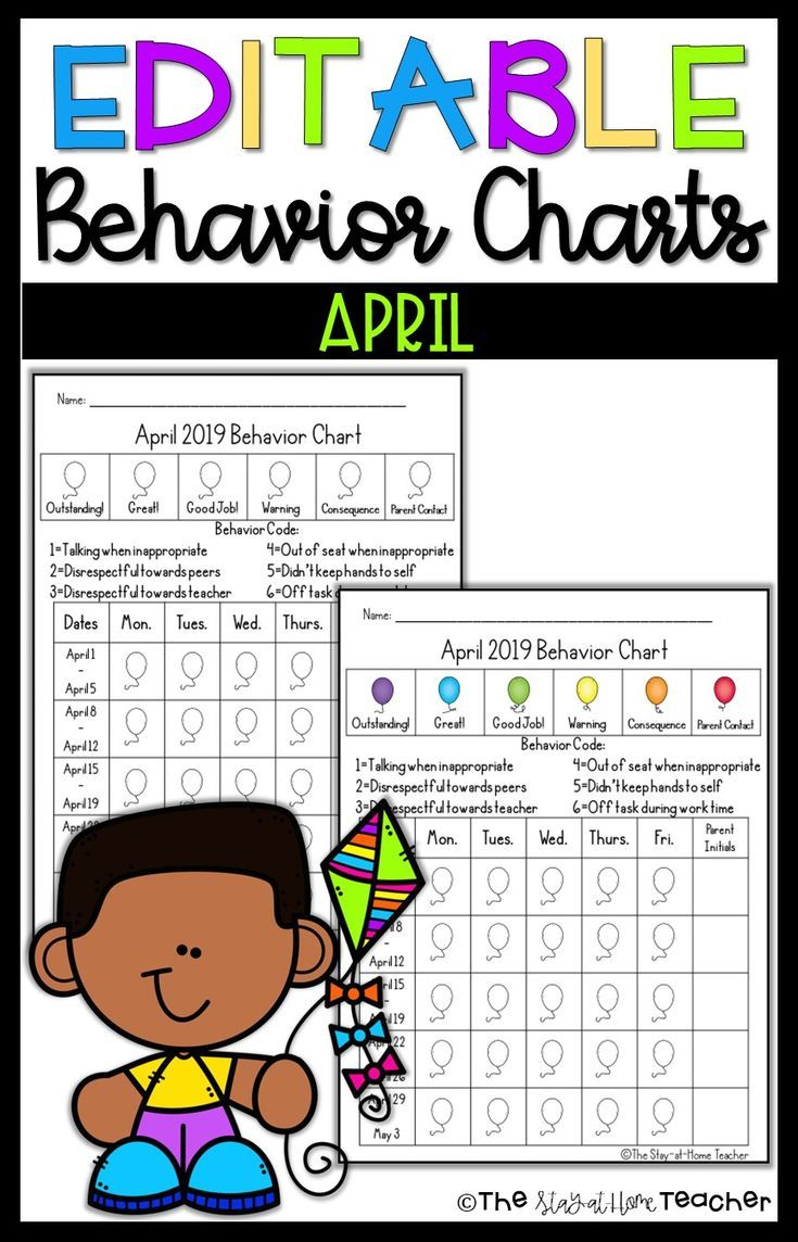 Editable Monthly Behavior Calendars 20192020 | April Kinder with regard to Monthly Behavior Charts