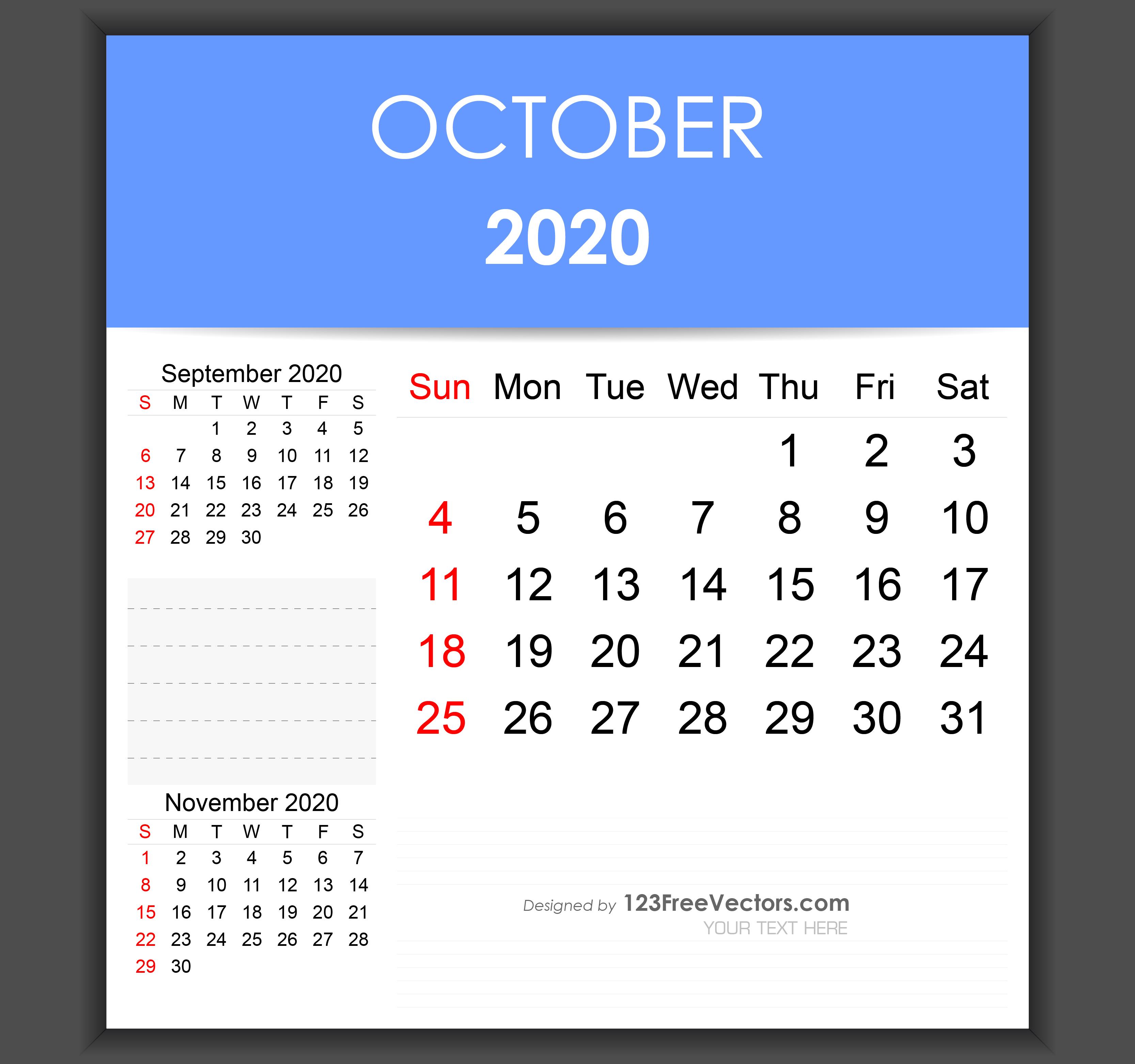 Editable October 2020 Calendar Template within October & November 2020 Calendar