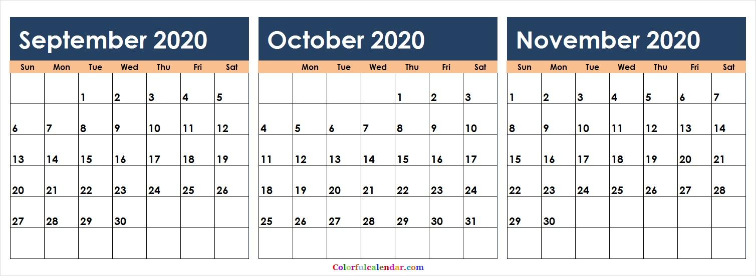 Editable September October November 2020 Calendar | 2020 throughout October & November 2020 Calendar