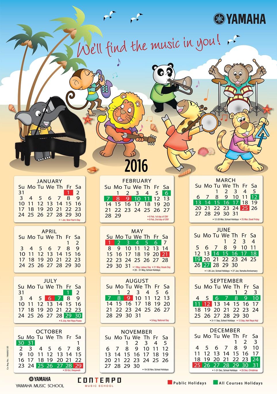 Electone Corner: Yamaha Course Calendar 2016 inside Yamaha Singapore Calendar 2020