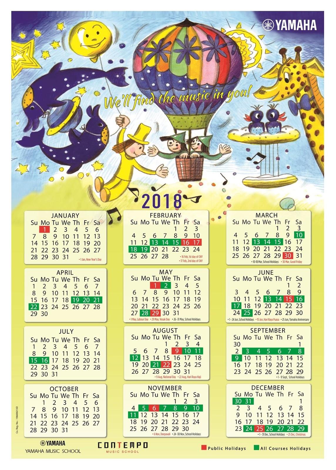 Electone Corner: Yamaha Course Calendar 2018 pertaining to Yamaha Singapore Calendar 2020