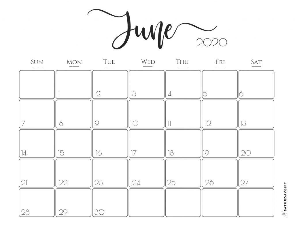 Elegant 2020 Calendar {Free Printables} | Free Printable inside Printable June 2020 Calendar