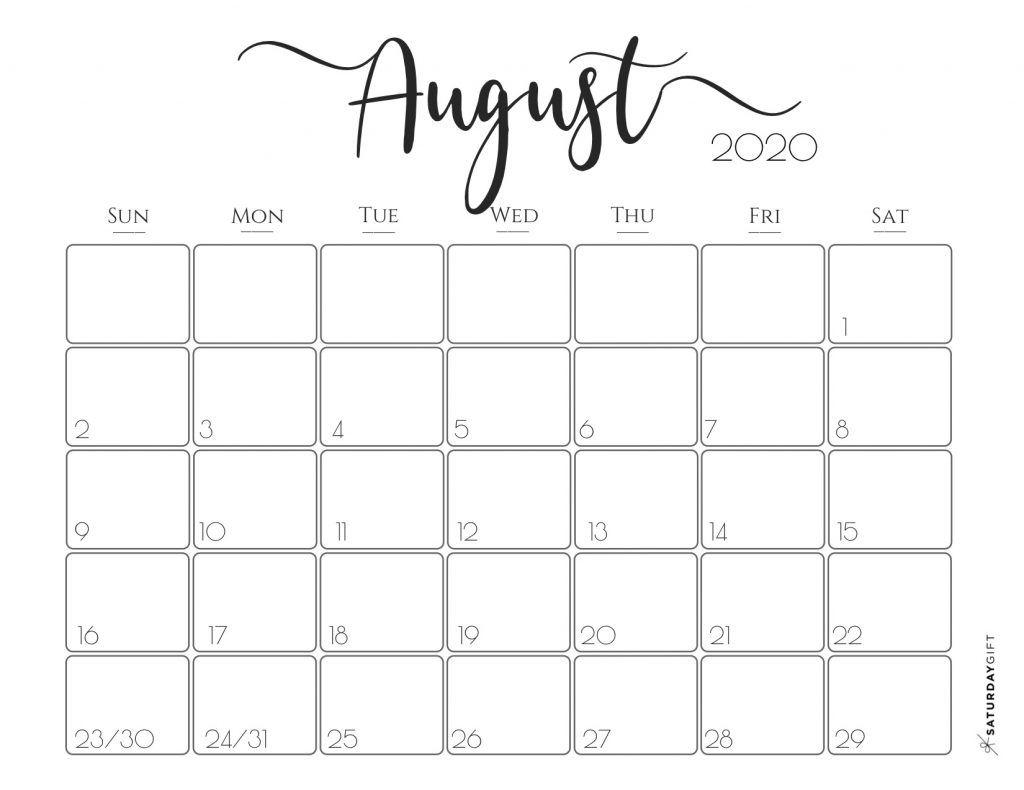 Elegant 2020 Calendar {Free Printables} | Free Printable intended for August 2020 Calendar Printable