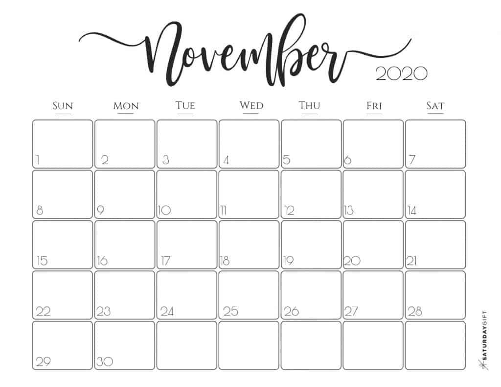 Elegant 2020 Calendar {Free Printables} | Saturdaygift intended for December Calendar 2020 Pinterest