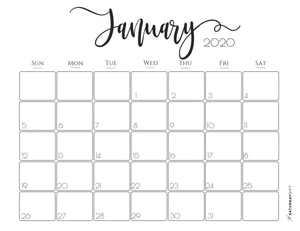 Elegant 2020 Calendar {Free Printables} | Saturdaygift intended for Pretty Printable Calendar