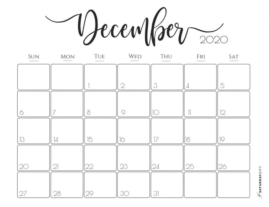 Elegant 2020 Calendar {Free Printables} | Saturdaygift with regard to December Calendar 2020 Pinterest