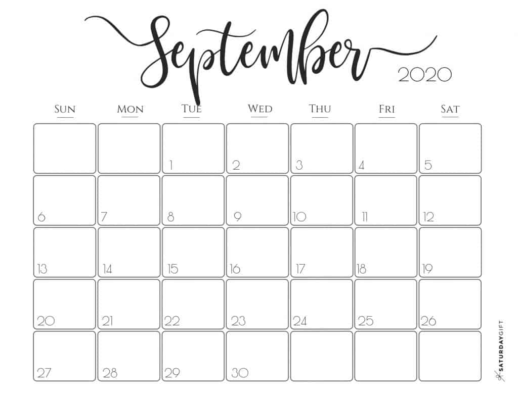 Elegant 2020 Calendar {Free Printables} | Saturdaygift within August 2020 And September 2020 Calendar