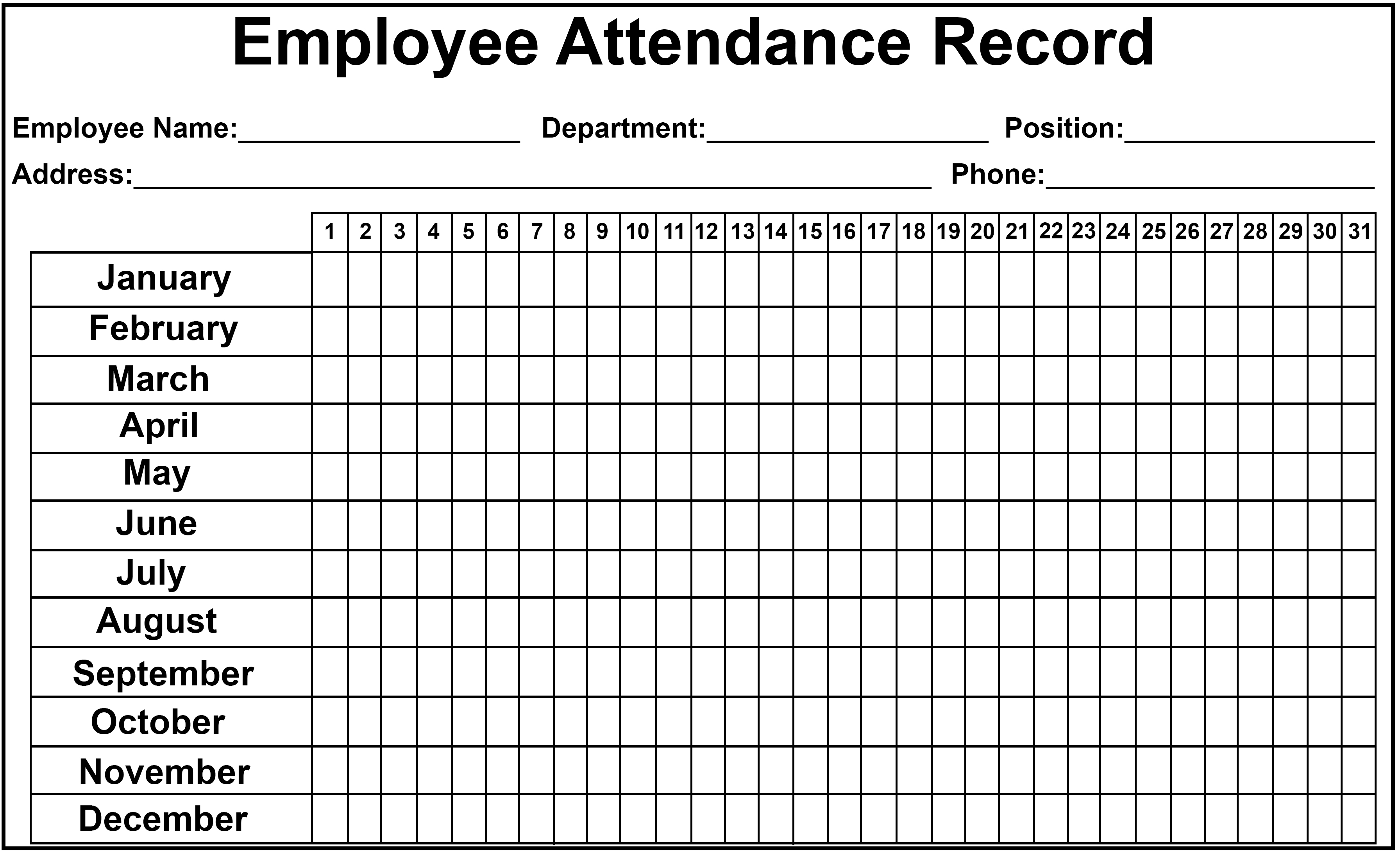 Employee Attendance Tracker Excel 2020  Yatay for Free Printable 2020 Attendance Calendar