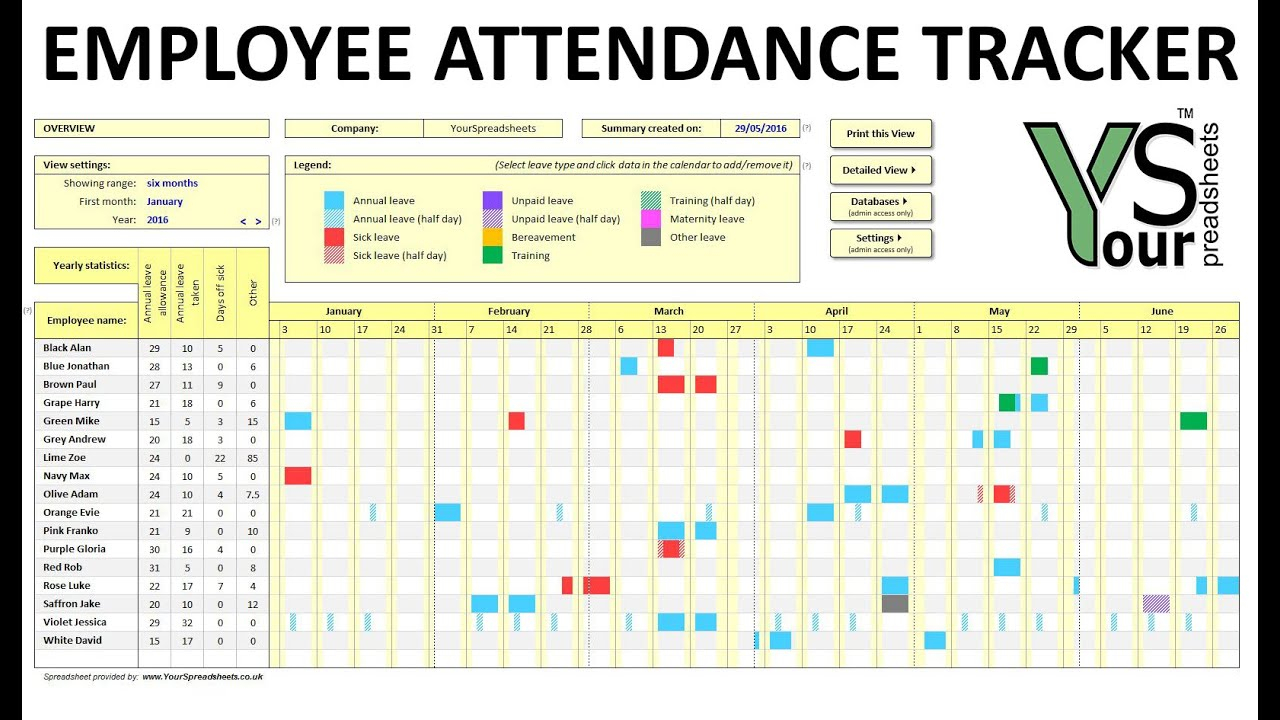 Employee Attendance Tracker Spreadsheet with regard to Team Leave Calendar Excel