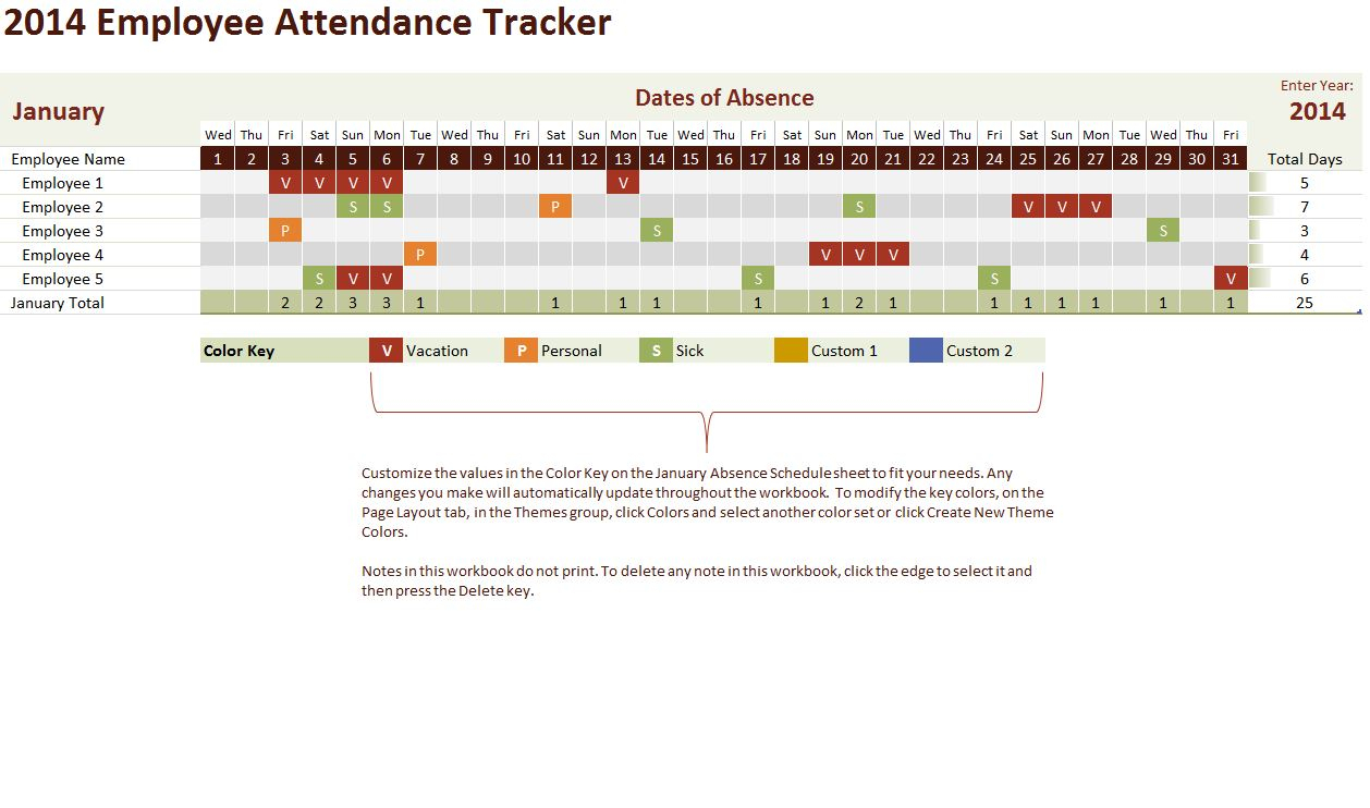 Employee Attendance Tracker Template  Free Excel Template throughout Employee Vacation Tracking Calendar
