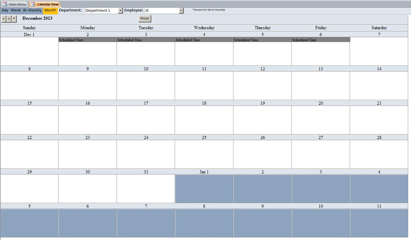 Employee Vacation Tracking Database Template | Employee with Pto Tracking Calendar