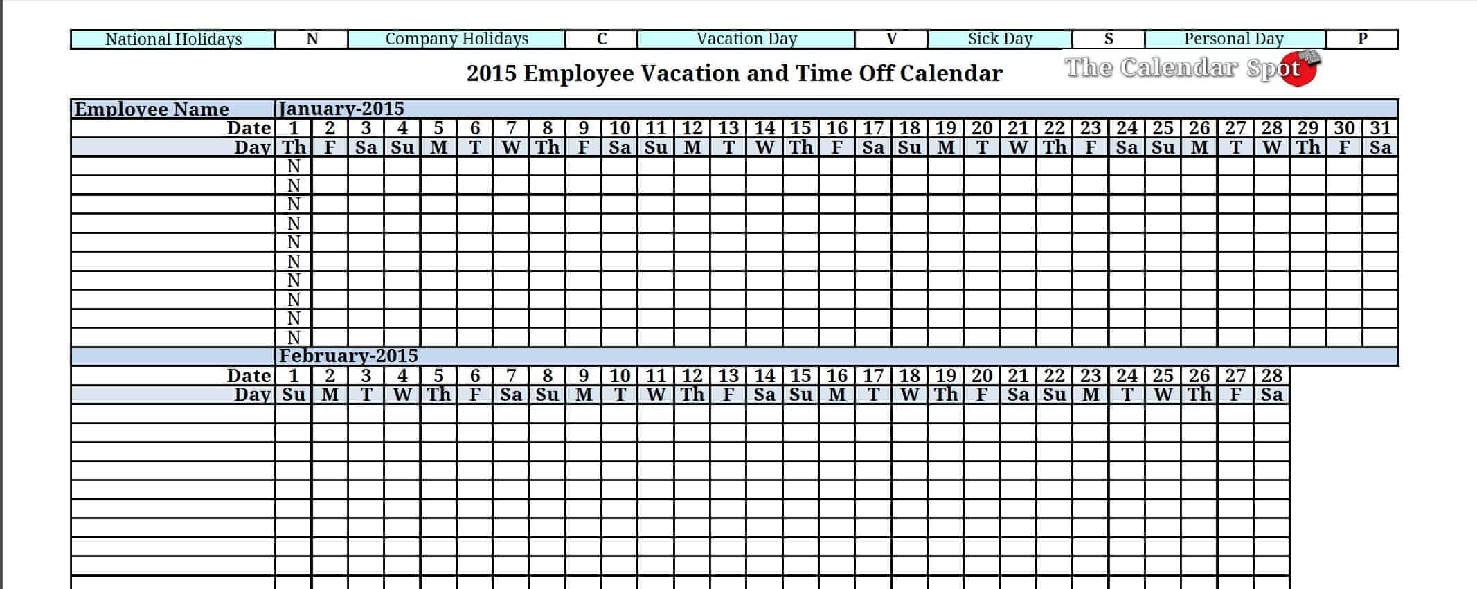 Employee Vacation Tracking Template  Cpunkt inside Pto Tracking Calendar