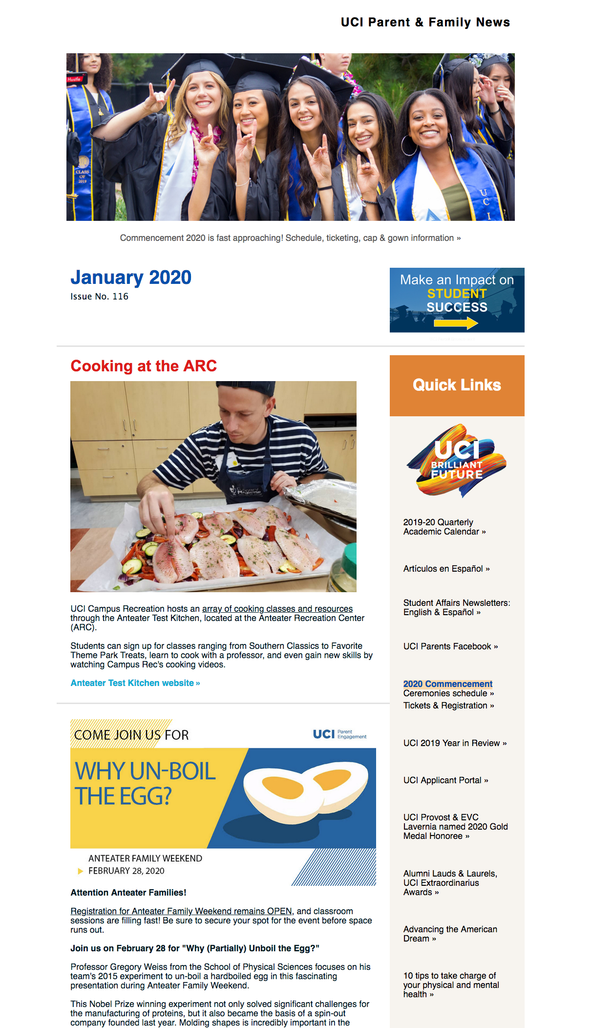 Enews Archive – Uci Parents in Uci Quarterly Calendar