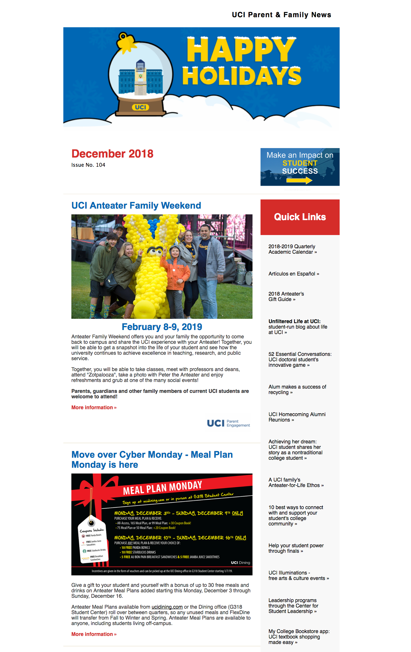 Enews Archive – Uci Parents pertaining to Uci Quarterly Calendar